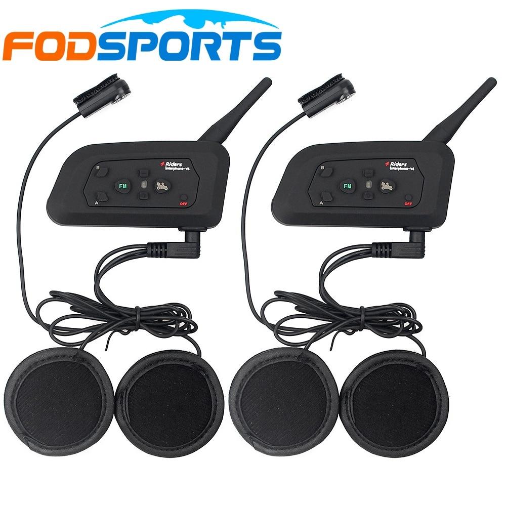2 stks Fodsports V4 Motorhelm bluetooth Intercom 4 Riders Talking Dezelfde Tijd + Zachte Oortelefoon voor Volle / Gesloten Helm