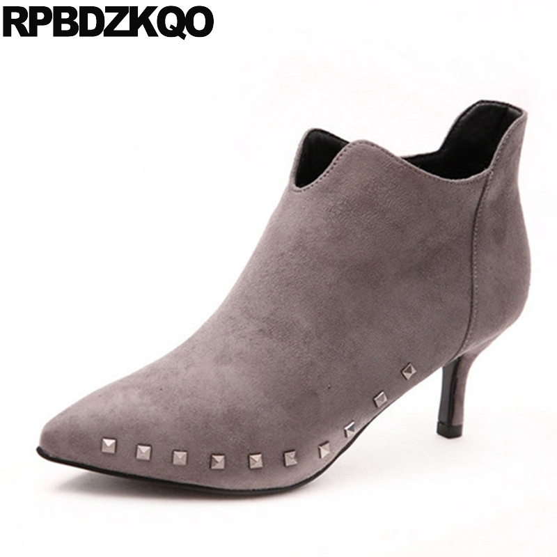 Stiletto Rivet Side Zip Boots High Heel Gray Ankle New Casual Suede 2017 Pointed Toe Booties Fall Shoes Short Fashion Chinese booties combat lace up flat suede round toe fall military front casual ankle boots autumn work women shoes gray low heel 2017