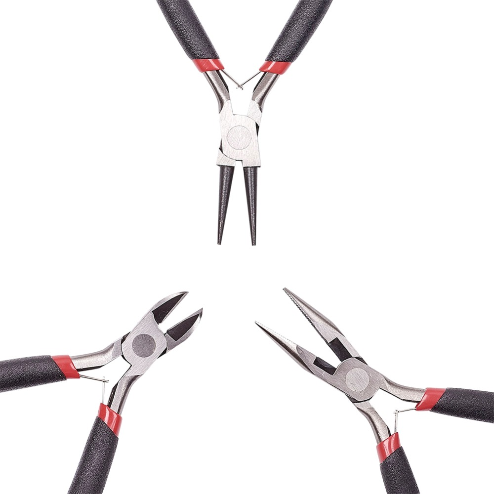 45# Steel DIY Jewelry Tool Sets: Round Nose Pliers, Wire-Cutter Pliers and Side-Cutting Pliers, Black, 315x70x10mm; 3pcs/set sock slider aid blue helper kit help