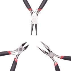45 # Сталь DIY ювелирных Наборы инструментов: круглый нос Щипцы для наращивания волос, Провода-резак Щипцы для наращивания волос и сбоку-Резка