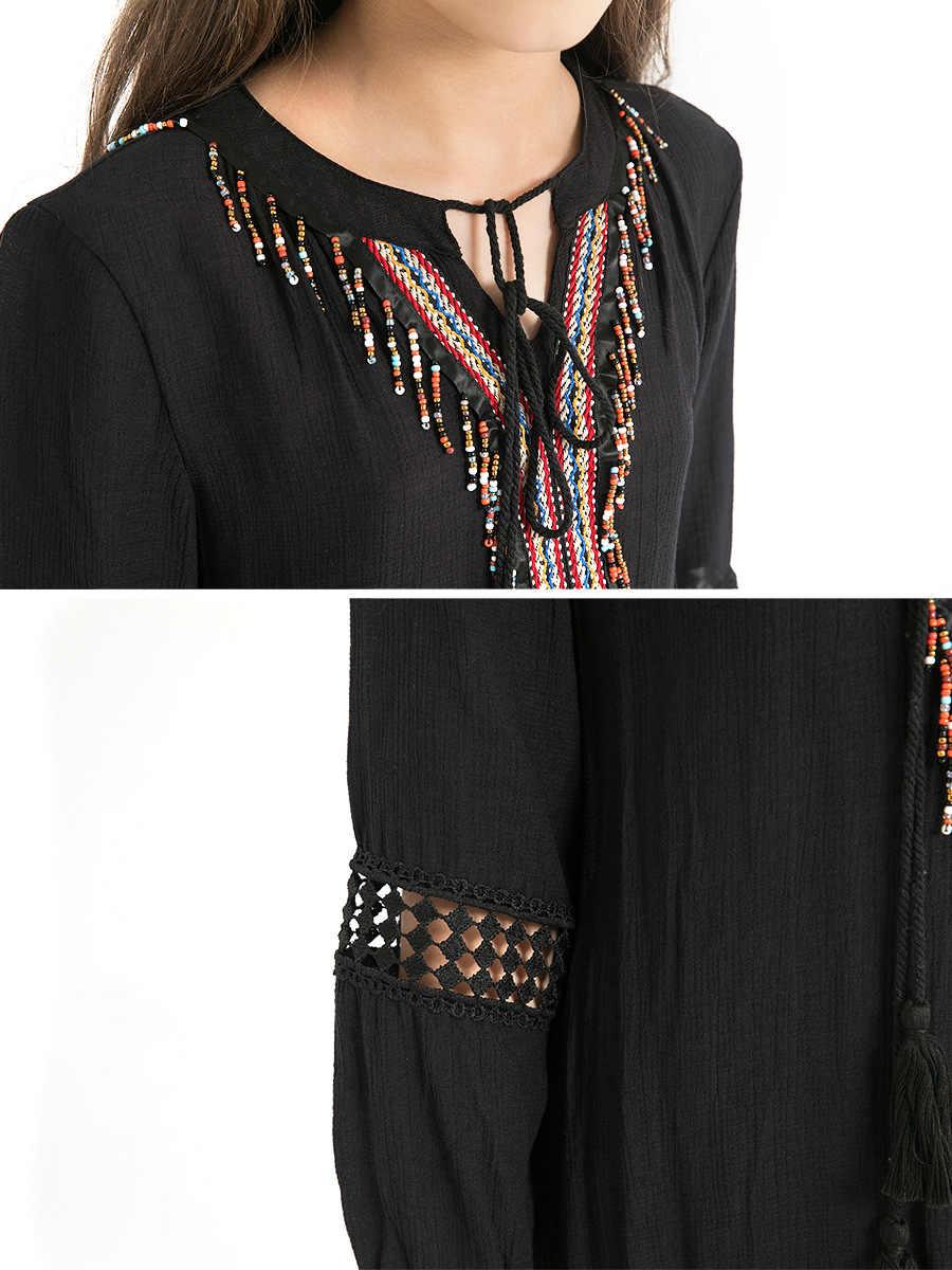 Детское осеннее платье для девочек детские 13 лет кисточкой трапециевидной формы с длинными рукавами шифоновые платья свободные Национальный тенденция черный одежда для подростков