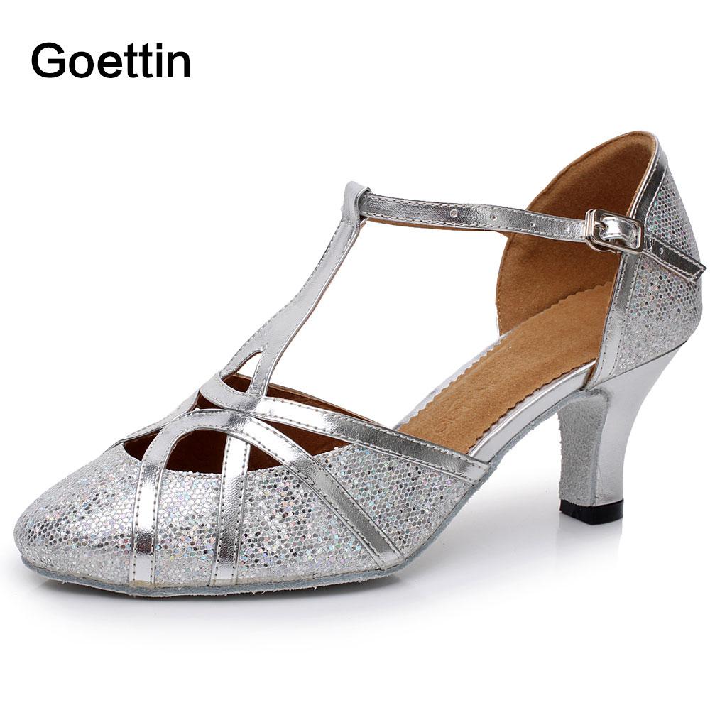 Merek Sepatu wanita Baru 6 cm Bertumit Tango Ballroom Latin Salsa Dancing Sepatu Untuk Wanita