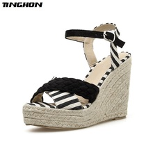 TINGHON Summer Women Woven Rope Platform Sandals Peep Toe Wedge Espadrilles Women Buckle Strap Comfortable Women Sandals