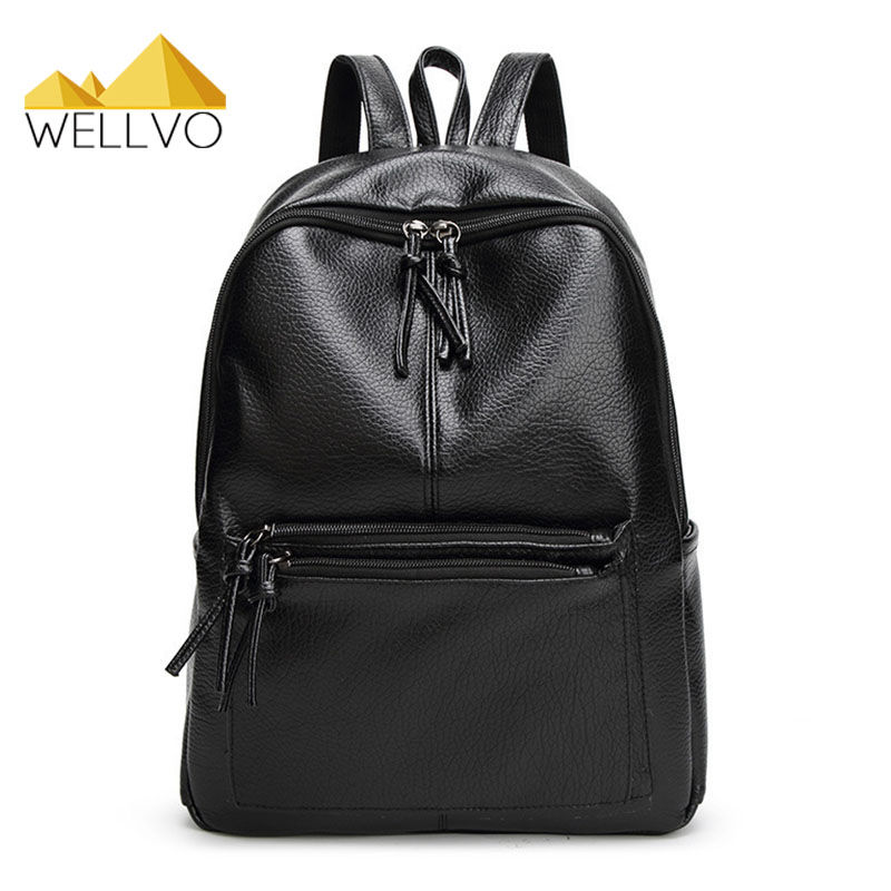 2017 New Girls School Bag Teenager Students Backpacks PU Leather Backpacks Fashion Black Lady s Casual