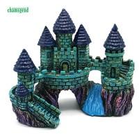 CHAMSGEND Cartoon Castle Aquariums Decorations Castle Tower Ornaments Fish Tank 13 5cm X 16 Cm Nature