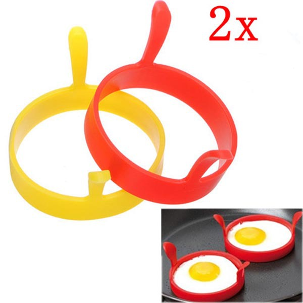 2PCS Creative Breakfast Round Silicone Egg Frier Fried Pancas
