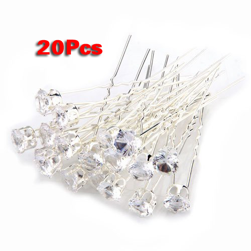 YOST 20 Wedding Prom Silver Plated Crystal Hair Pins Clips