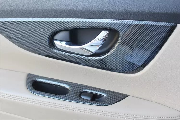 ABAIWAI Auto Accessoires 4 pcs/ensemble Pour Nissan X-trail 2015 2016 Fenêtre De Voiture Commutateur de Couverture En Fiber De Carbone Porte Intérieure décoration
