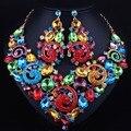 Conjuntos de Jóias africano banhado a ouro big cristal strass jóia do casamento conjuntos de colar e brincos longos para as mulheres