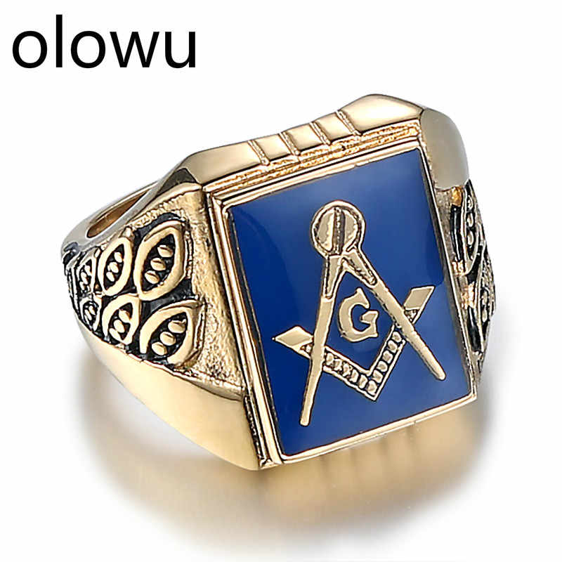 olowu Men's Jewelry Rings Punk Vintage Past Master Masonic Signet Ring Men Antique Gold Color Metal Stainless Steel Mason Ring