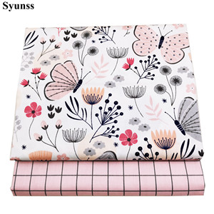 Syunss Pink Butterfly Grid Printed Cotton Fabric DIY Tissue Patchwork Telas Sewing Baby Toy Bedding Quilt Tecido The Cloth Tilda(China)