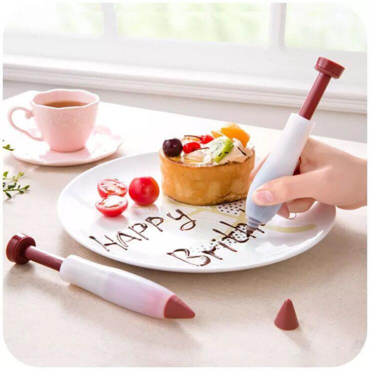 Pastry Icing Cream Chocolate Cake Pen Dessert Decorating Syringe Silicone Plate Paint Pen Cake Cookie Biscuit Pastry Tools