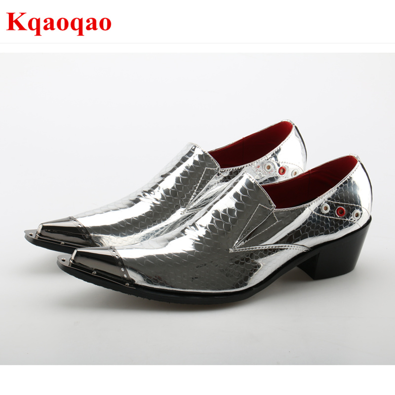 Silver Color Metal Pointed Toe Superstar Men Shoes Sapato Masculino Zapatos Hombre Low Top Dress Business Formal Low Heel Shoes