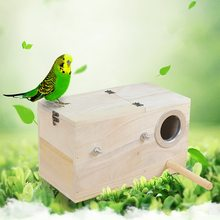 1PC Bird House Natural Wood Bird Nest Parrot Breeding Box Birds Cage Warm Winter Home Portable Pet Birds House Accessories(China)