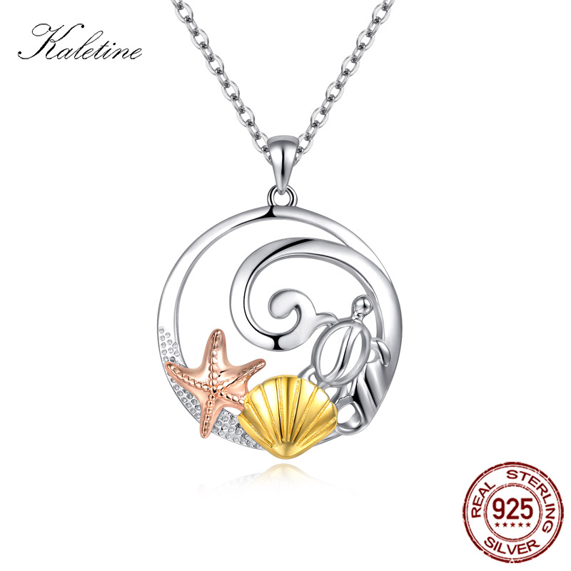 Star Fish Turtle Sea Shell Pendant Necklaces Sterling 925 Silver Necklace Colorful Cute Sea Ocean Animal Pendants Women Collares concise and cute bronze star pendant necklace