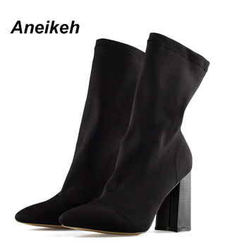 Aneikeh Women's Boots Pointed Toe Yarn Elastic Ankle Boots Thick Heel High Heels Shoes Woman Female Socks Boots 2019 Spring 1
