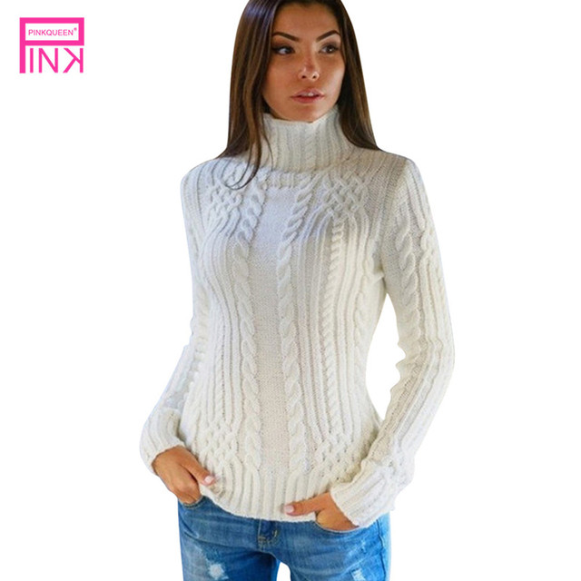 Pink Queen Hot Pullovers Women White Long Sleeve Sweater Turtleneck Acrylic Sexy  Knit Tops Gray Blue 4bc9ce4eb