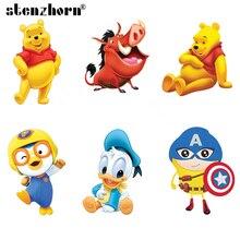 Cartoon-Patch Ironing-Stickers Warthog Heat-Transfers Peng Duck-Bear Kids Iron-On