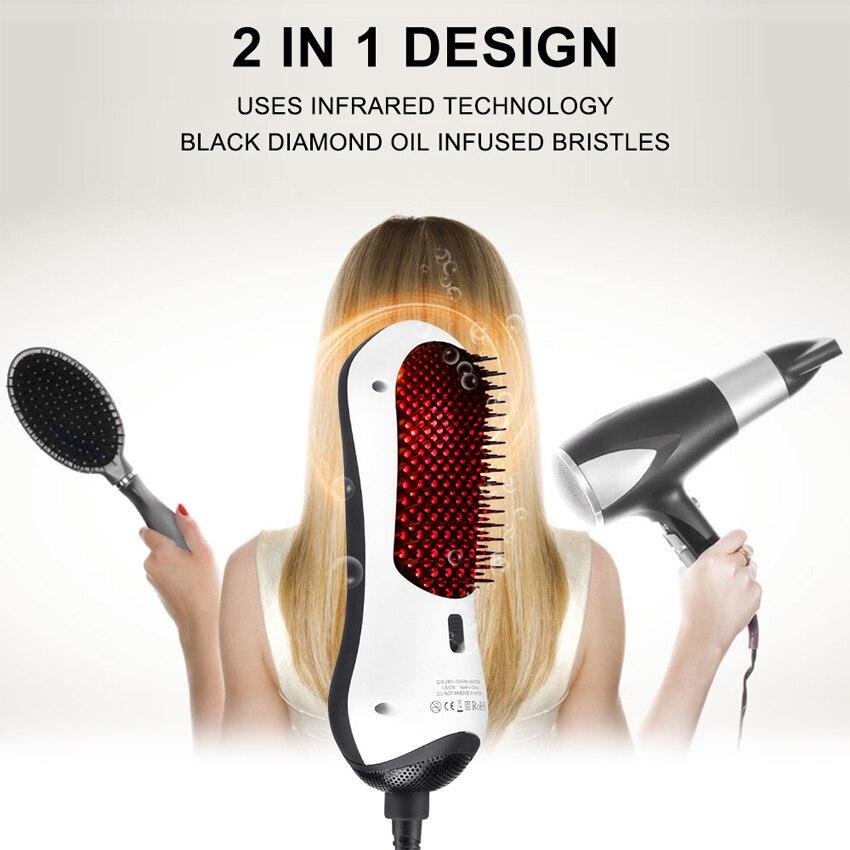 New Design Detangling Hair Dryer Brush Infrared Hair Dryer Detangle & Dry Heating Hair Blower Comb Styling Tools for Travel
