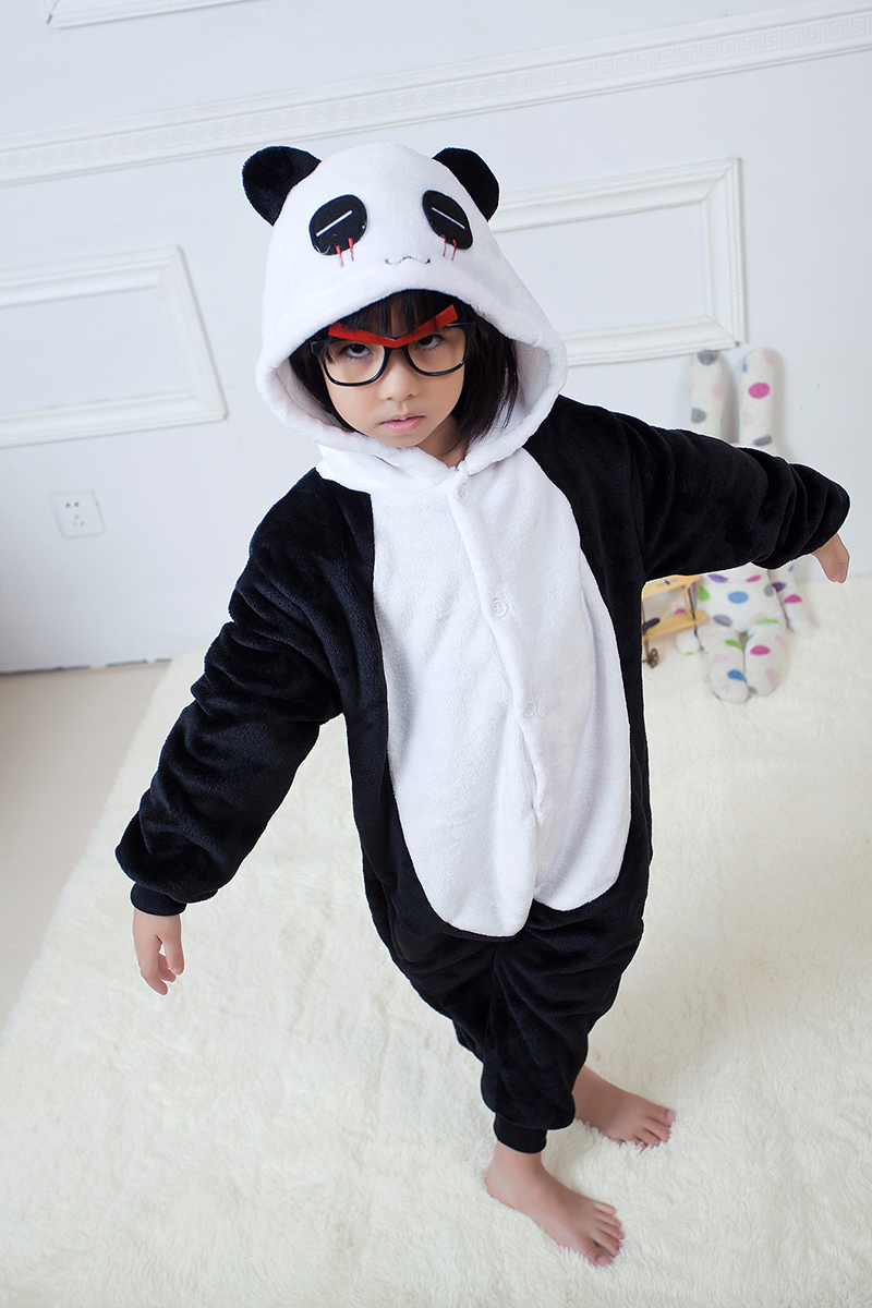 Kids Panda Childrens Cosplay Costume Unisex Cartoon Pajamas for Helloween Christmas Party Hoodies Pajama Infantil Menino