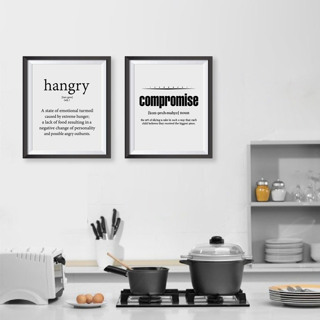Superbe Definition Of Hungry Funny Kitchen Decor Wall Art Canvas Painting , Kitchen  Compromise Quote Canvas Prints