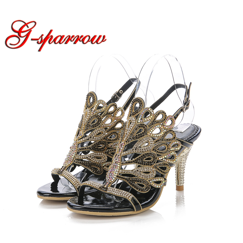 Black Red Silver Gold Summer Sandals Rhinestone Stiletto