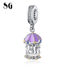 SG HOT New 100% 925 Sterling Silver Cute purple Carousel Beads Merry-Go-Round Charm Fit pandora Bracelet For Women Gift