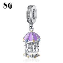 цена SG HOT New 100% 925 Sterling Silver Cute purple Carousel Beads Merry-Go-Round Charm Fit pandora Bracelet For Women Gift онлайн в 2017 году