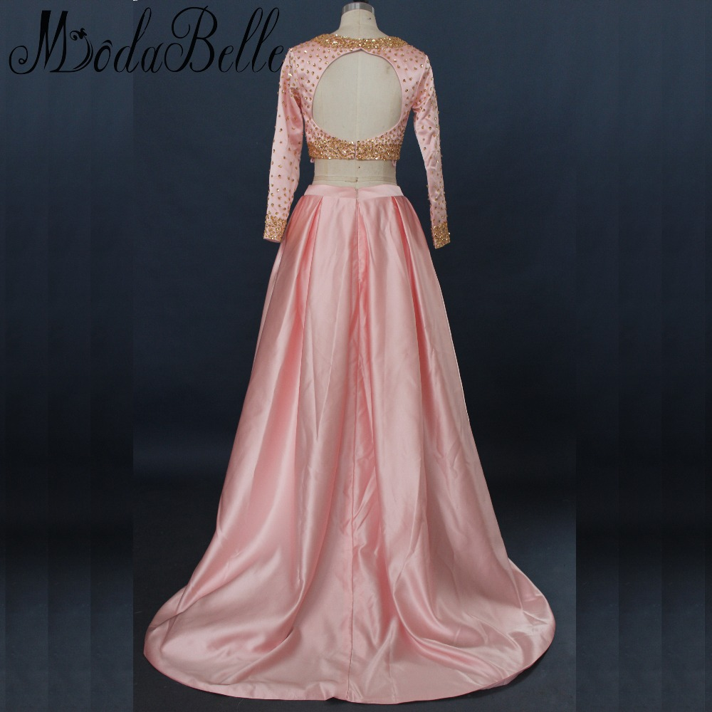 Modabelle Peach Pink Long Sleeve Prom Dresses Gold Sequin Two 2 ...