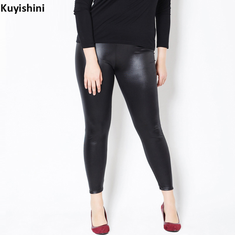 2017 New Plus Size XL 3XL 5XL Women Oversized Legging High Waist Sexy Faux Leather Leggings Slim PU Skinny Pants 4110117
