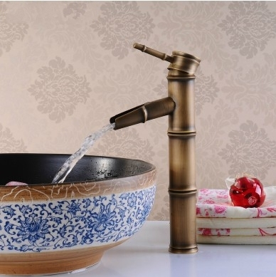 Antique Artistic Basin Bathroom Waterfall Faucet Lavatory Vessel