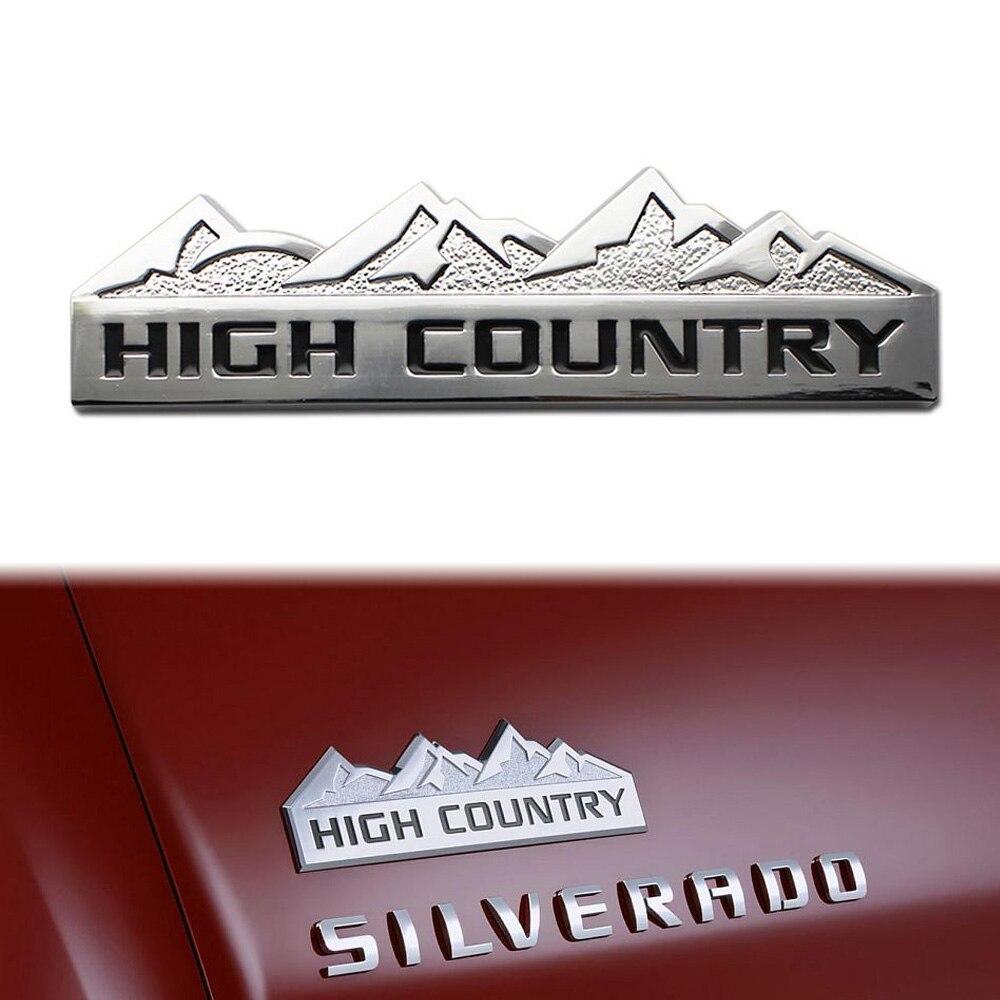 3d silver high country car auto aluminum emblem sticker for chevy chevrolet silverado 0286
