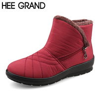 HEE GRAND Waterproof Flexible Cube Woman Boots High Quality Cozy Fur Side Zip Snow Boots Winter