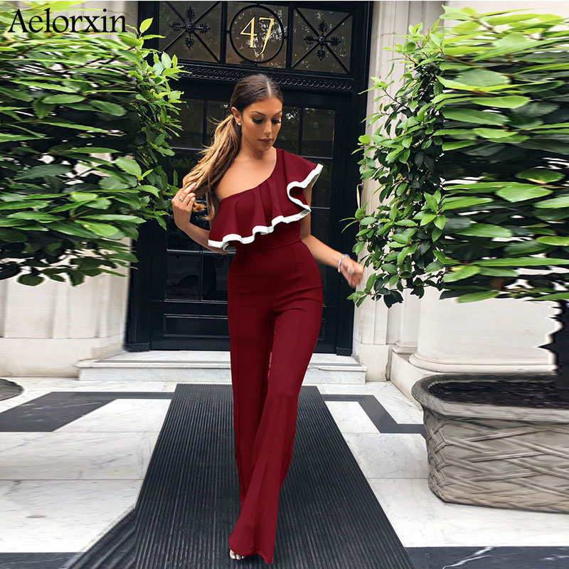 Aelorxin 2017 Sexy Bodysuit Women Autumn Fitness Off Shoulder Ruffles Female   Jumpsuit   Rompers Harem Pants Shirt Combination S-XL