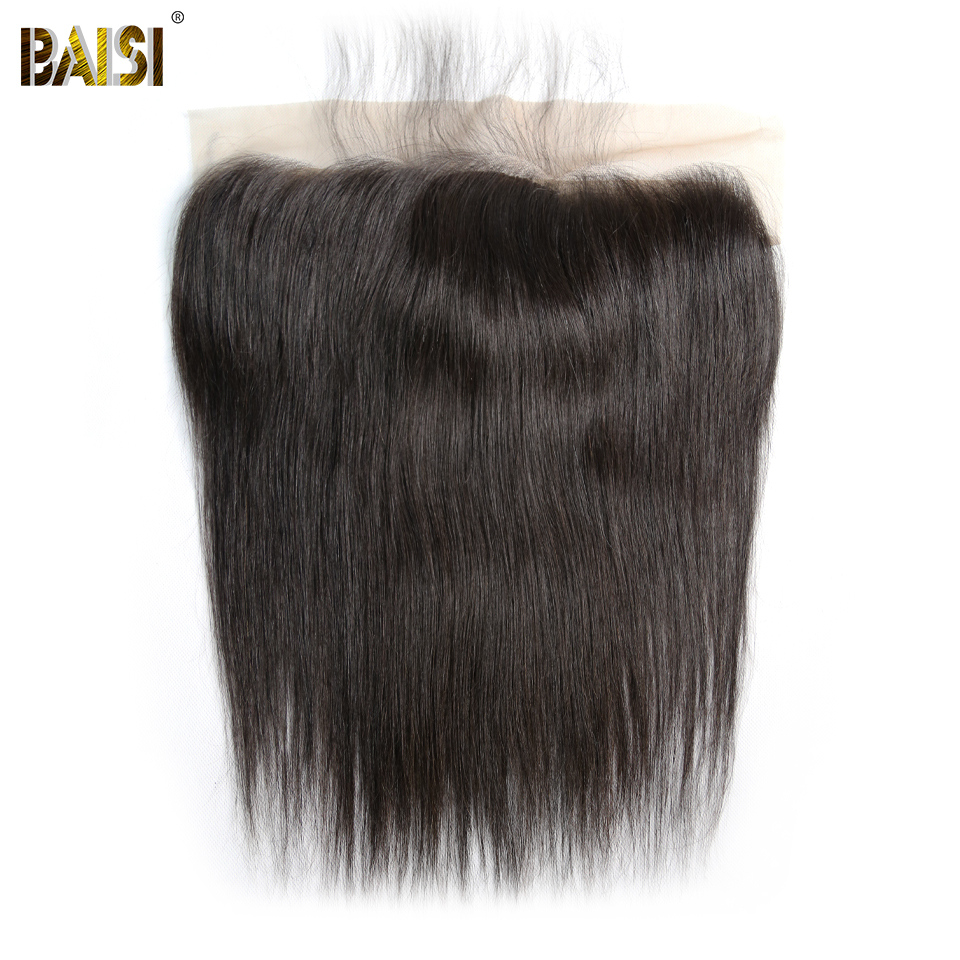 BAISI Hair Brazilian Virgin Hair Silk Base Frontal Straight Frontal 13x4 Pre-Plucked Natural Hairline