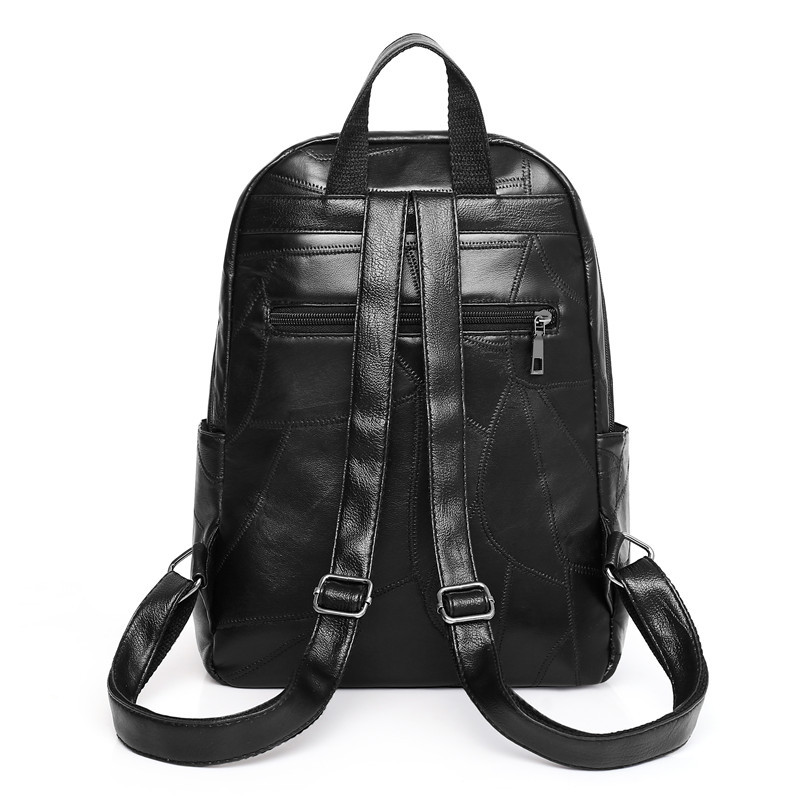 Image 2 - 100% Genuine leather women School backpack for student genuine leather water proof  bag pack women bag weaving pattern hot sale-in Backpacks from Luggage & Bags