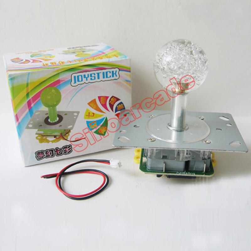 Arcade oyun DIY hissələri üçün 8 yoldan 4 yola dəyişdirilə bilən rəngli işıqlandırılmış LED Joystick
