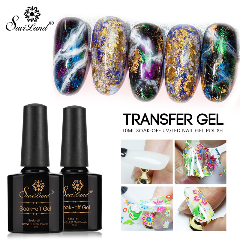 Saviland 10ml Nail Art Gel Varnish Star Starry Sky Nail Foils Glue Clear Adhesive Star Glue For Nail Foils Transfer Paper Decor