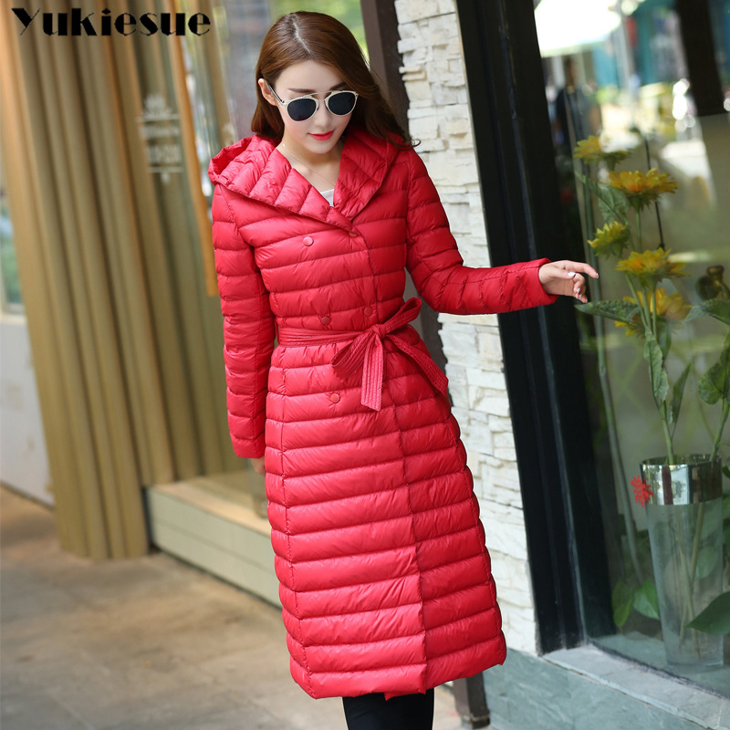 Duck   Down   Jacket Women Winter 2018 Outerwear   Coats   Female Long Casual Light ultra thin Warm   Down   puffer jacket Parka branded