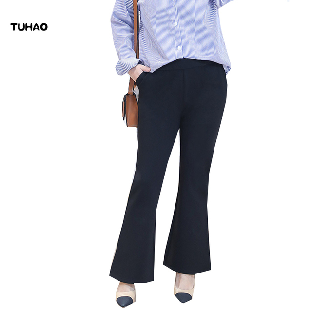 f039e84ac45 TUHAO Spring Summer Office Plus Size 4XL 3XL Women Trousers Wide Leg Flare  Pants OL Career