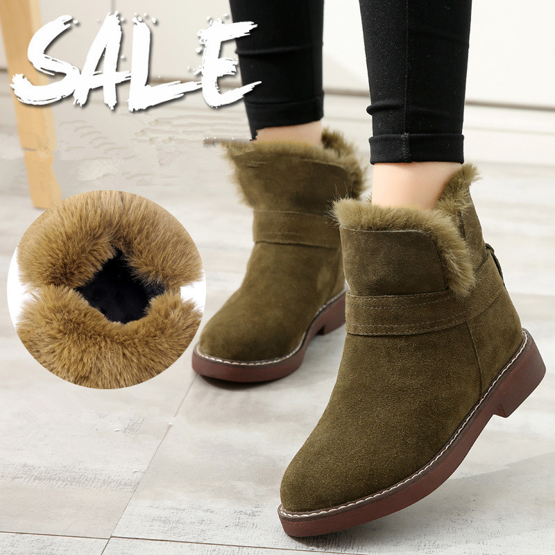 2017 winter new fur one leather boots leather slope with the hair snow boots boots women plus cashmere warm cotton boots snow the one plus one