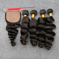 DHL Free 8A Brazilian Virgin Loose Wave With Closure Silk Base Closure With Bundles Human Hair 4 Bundles With Silk Base Closure