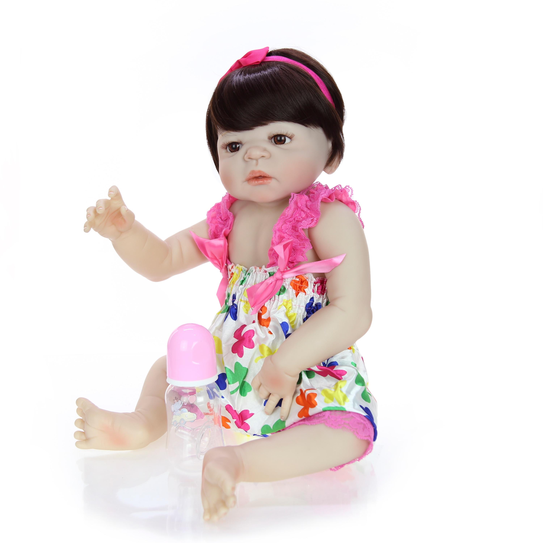23 인치 아기 인형 현실적인 전체 실리콘 비닐 소녀 인형 reborn 아기 인형 브라질 판매 어린이 크리스마스 선물 최고의 놀이 친구-에서인형부터 완구 & 취미 의  그룹 3