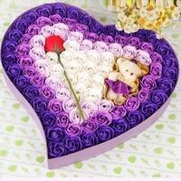 Romantische hartvormige Beertje Rose Zeep Bloem Geschenkdoos Colours Geur Exquisite Kunstbloemen Valentijnsdag Gift