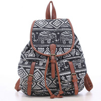 Fashion New Women Drawstring Printing Backpack Girls Bohemian Vintage Canvas Backpack Youth School Bags Female Travel Bags