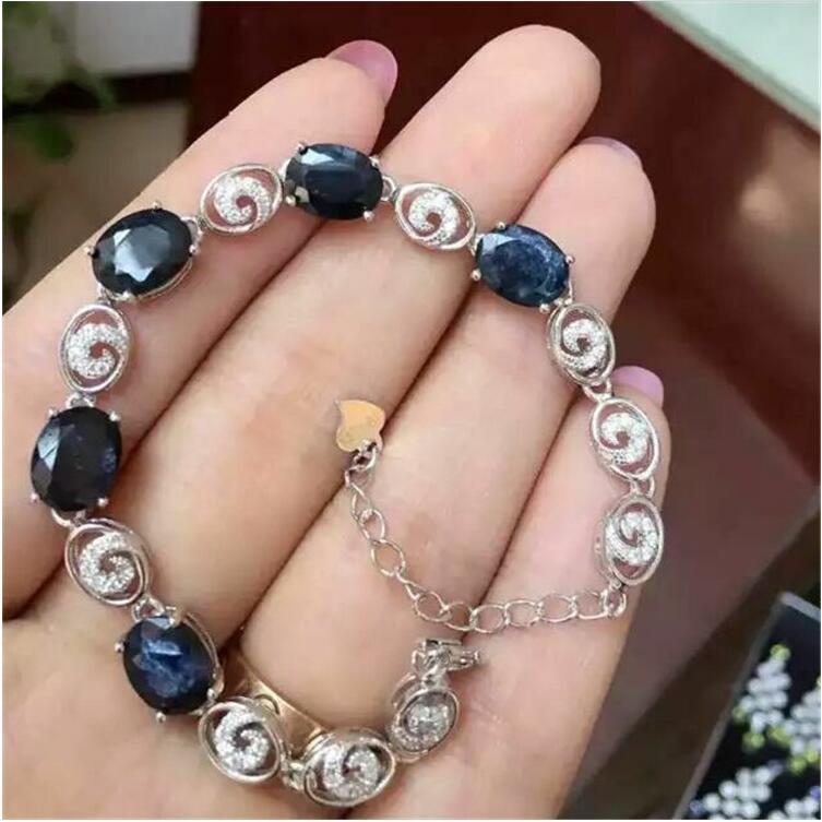 Saphir naturel chaîne bracelet livraison gratuite naturel réel saphir vert 925 argent sterling bijoux fins 7*9mm 5 pièces