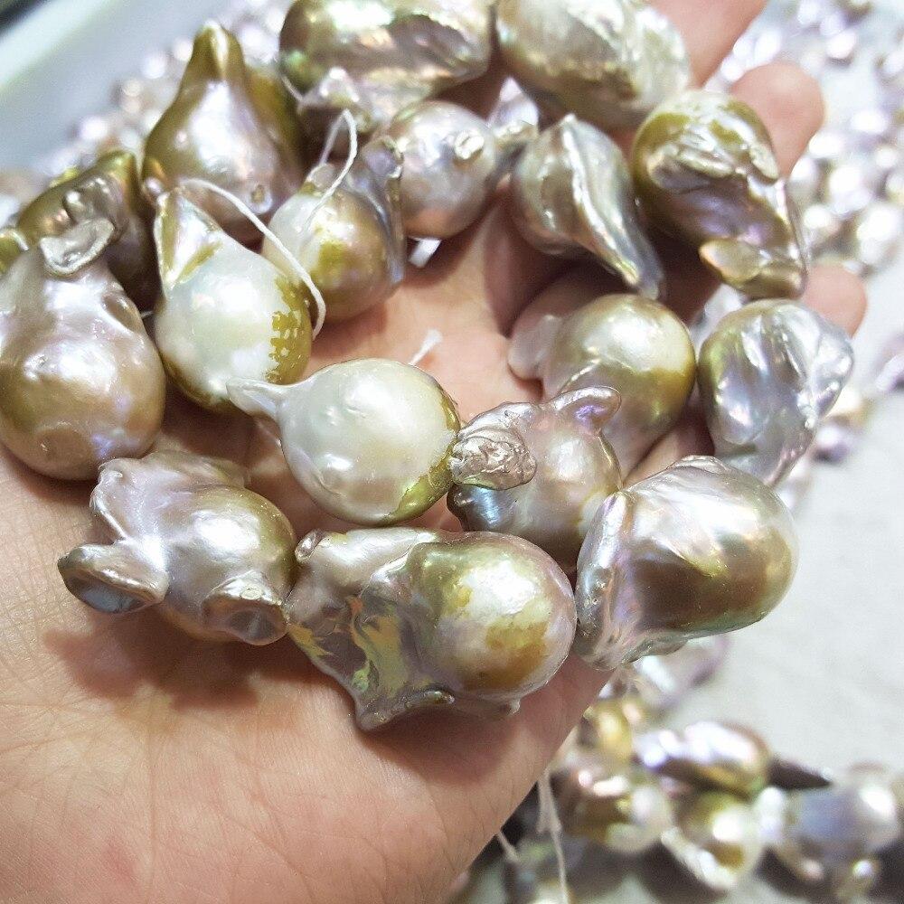 Lii Ji Lila Gelb Großen Barock Perle Perlen Ca. 18x25mm 18x28mm 925 Sterling silber Toggle Verschluss Halskette 45 cm - 2