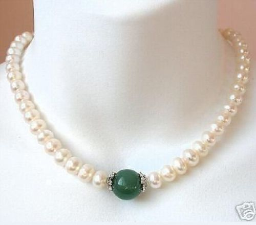 FINE 18 9 10MM REAL SOUTH SEA WHITE PEARL GREEN JADE NECKLACE 925silver GOLD