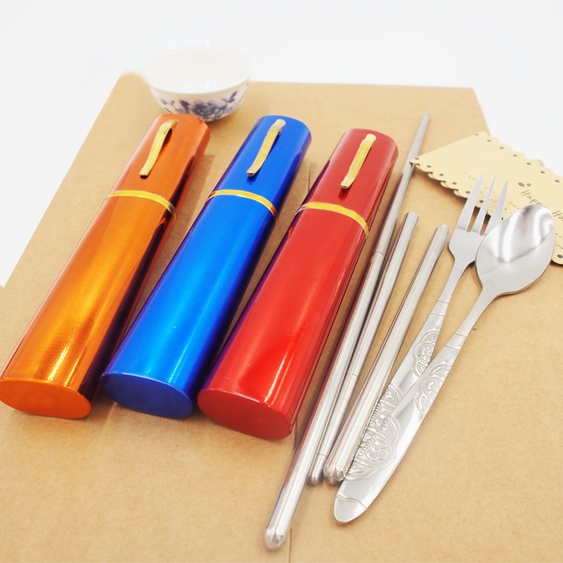2016 New Outdoor Travel Picnic Protable Tableware Eco friendly Stainless Steel Tableware Chopsticks Spoon Fork Storage