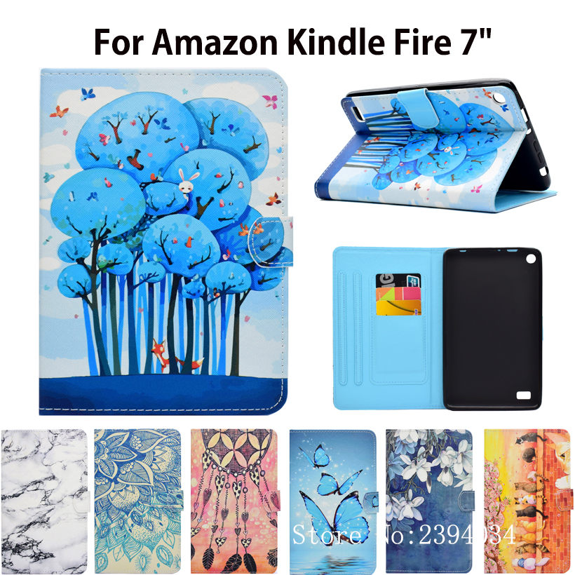 For Amazon Kindle Fire 7 2015 5th Generation Case Smart Cover Funda Fashion Cartoon Cat Pattern Flip PU Leather Stand Capa Shell image